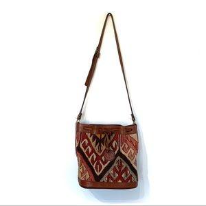 Vintage kilim handwoven wool leather bucket bag